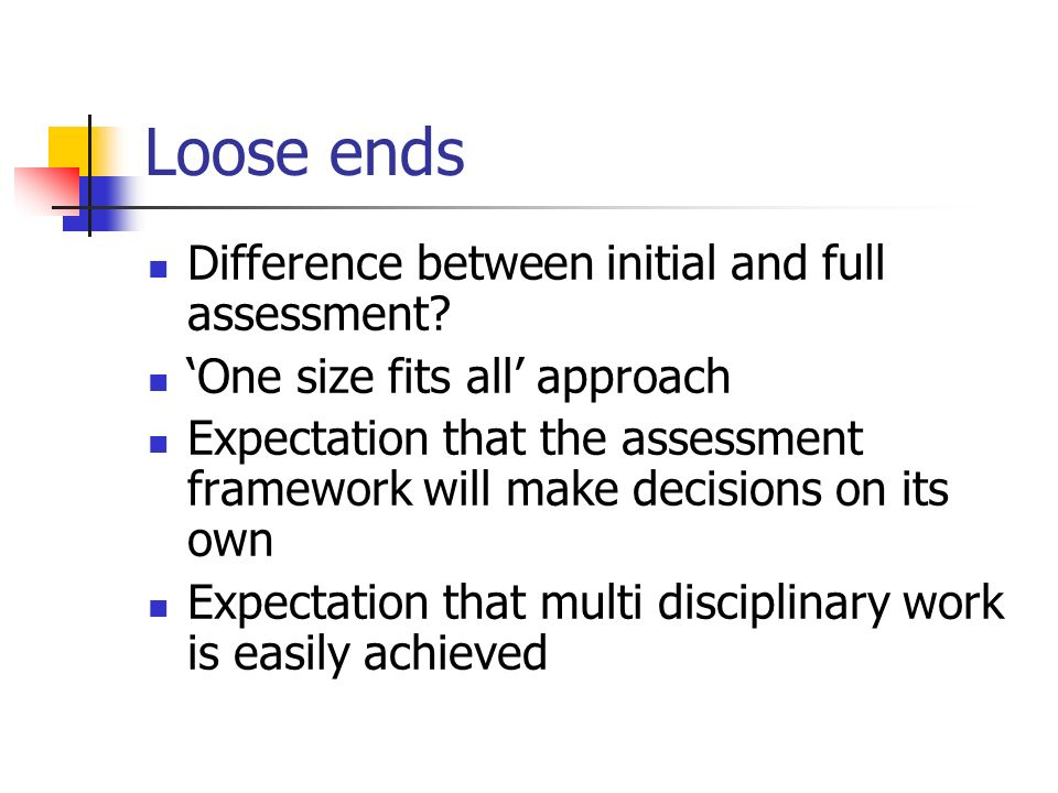 Loose ends Difference between initial and full assessment? One size fits all approach Expectation that the assessment framework will make decisions on