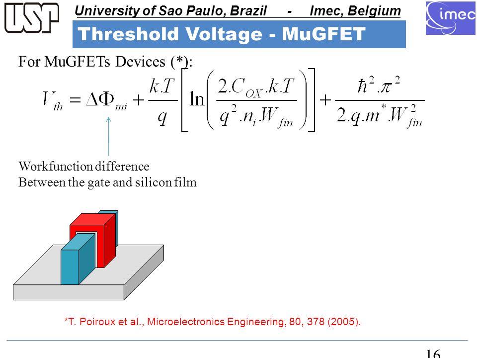 USP - University of Sao Paulo University of Sao Paulo, Brazil - Imec, Belgium USP - University of Sao Paulo 16 *T.