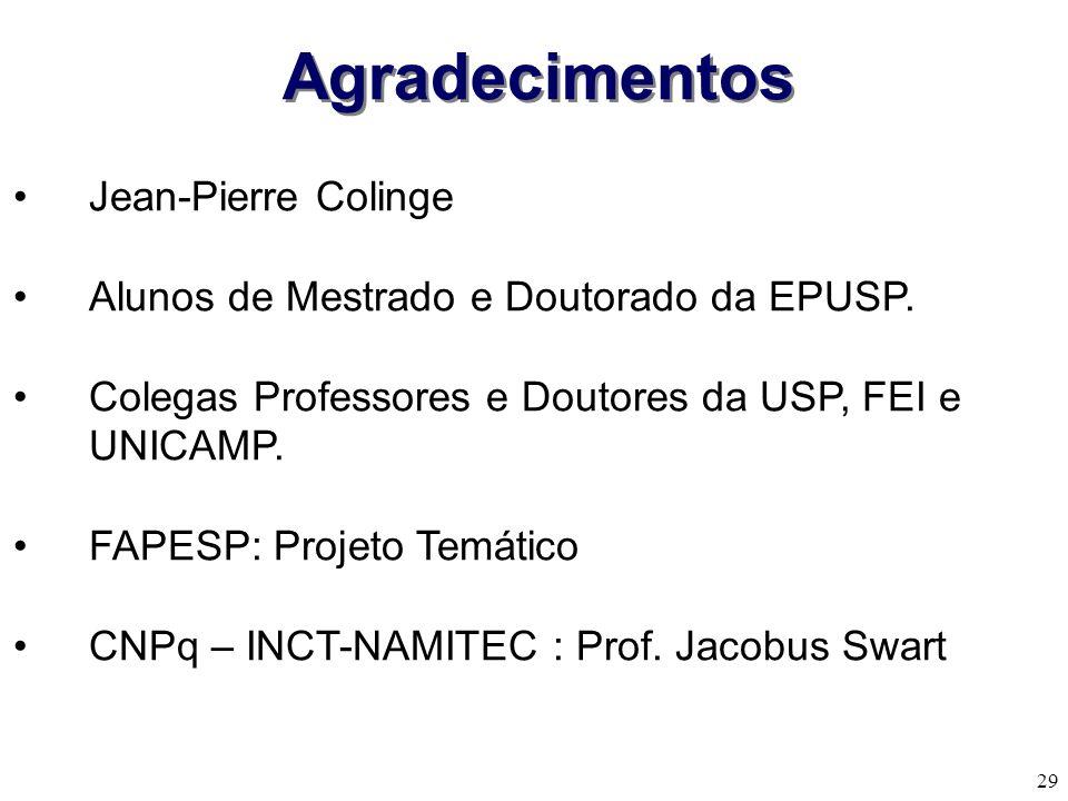 29 Jean-Pierre Colinge Alunos de Mestrado e Doutorado da EPUSP.