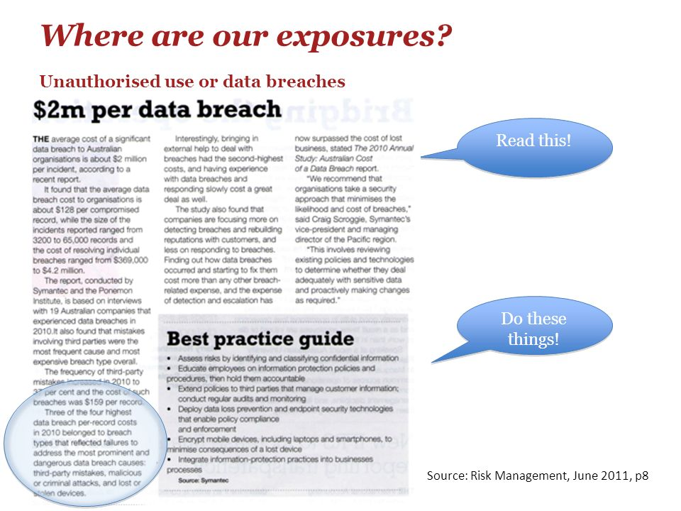 Source: Risk Management, June 2011, p8 Read this! Do these things! Where are our exposures? Unauthorised use or data breaches