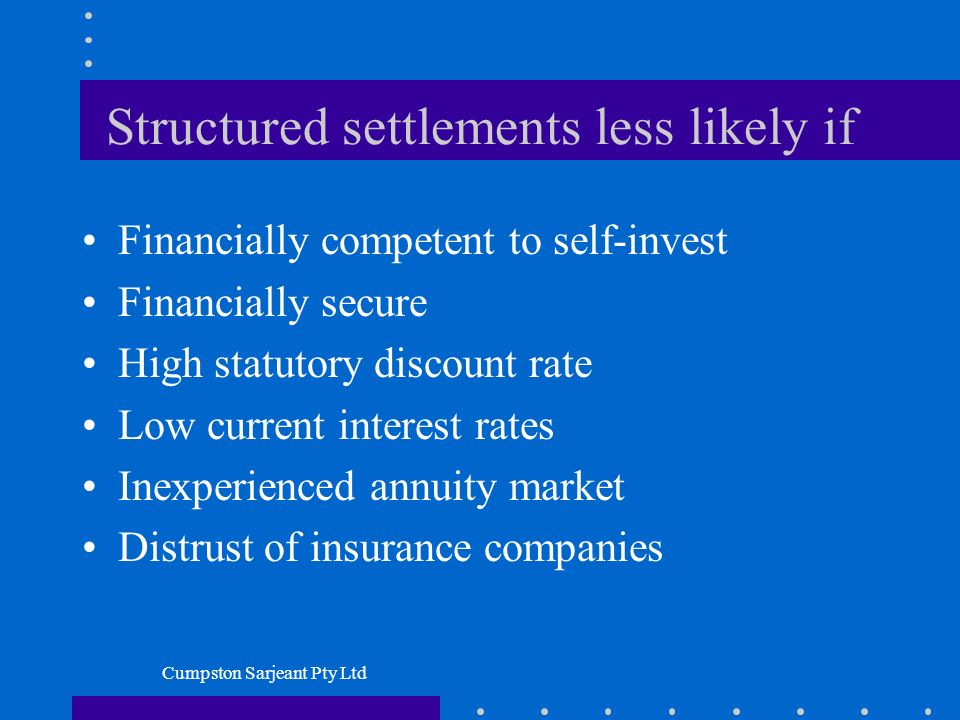 Cumpston Sarjeant Pty Ltd Structured settlements less likely if Financially competent to self-invest Financially secure High statutory discount rate Low current interest rates Inexperienced annuity market Distrust of insurance companies
