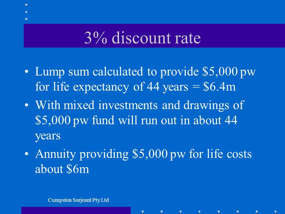 Cumpston Sarjeant Pty Ltd 3% discount rate Lump sum calculated to provide $5,000 pw for life expectancy of 44 years = $6.4m With mixed investments and drawings of $5,000 pw fund will run out in about 44 years Annuity providing $5,000 pw for life costs about $6m