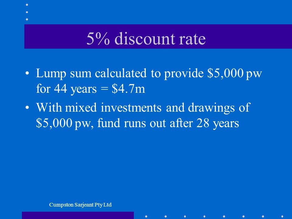 Cumpston Sarjeant Pty Ltd 5% discount rate Lump sum calculated to provide $5,000 pw for 44 years = $4.7m With mixed investments and drawings of $5,000 pw, fund runs out after 28 years