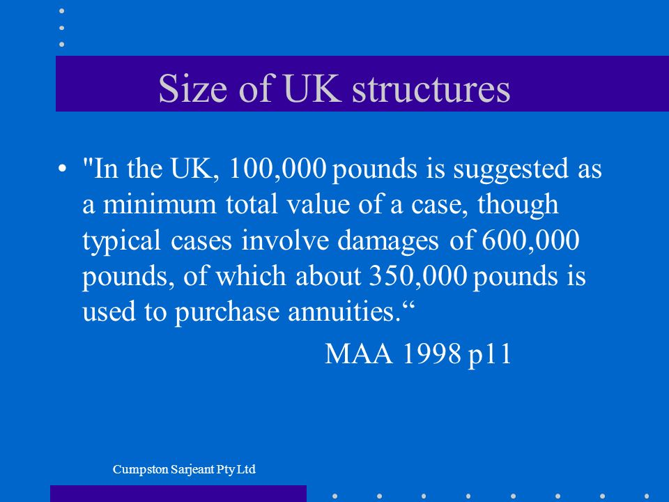 Cumpston Sarjeant Pty Ltd Size of UK structures