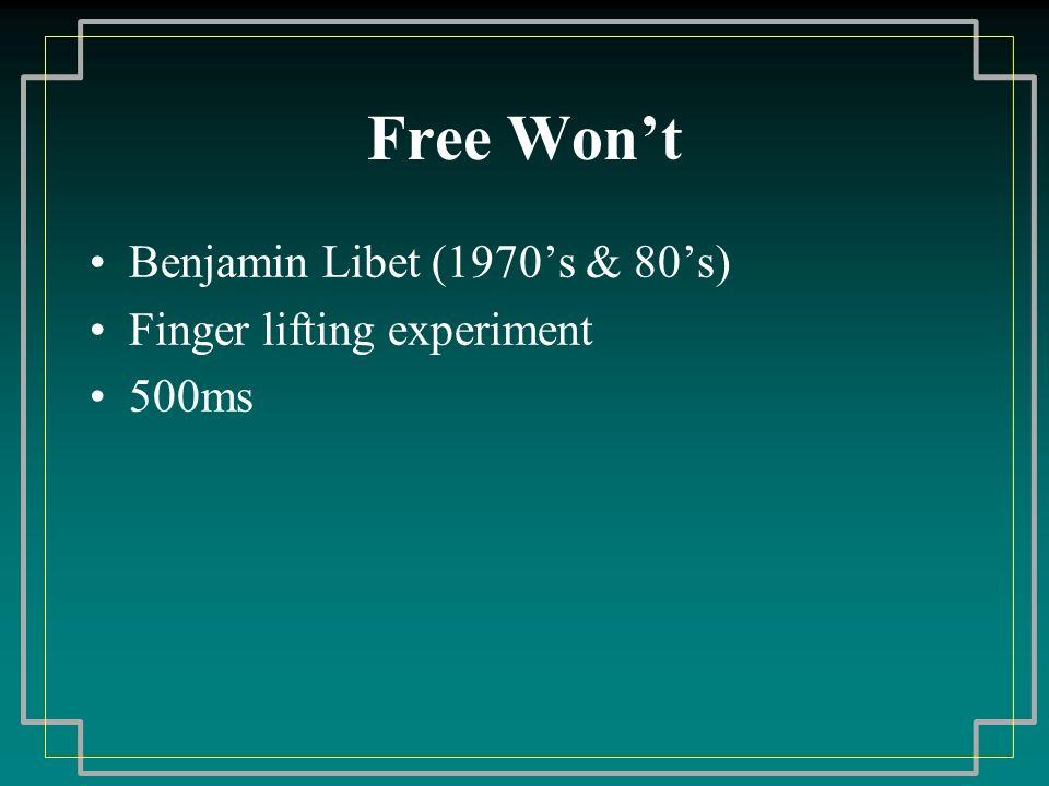 Free Wont Benjamin Libet (1970s & 80s) Finger lifting experiment 500ms