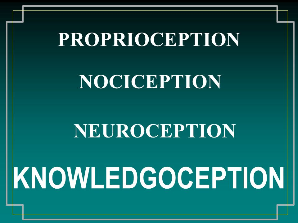 PROPRIOCEPTION NOCICEPTION NEUROCEPTION KNOWLEDGOCEPTION