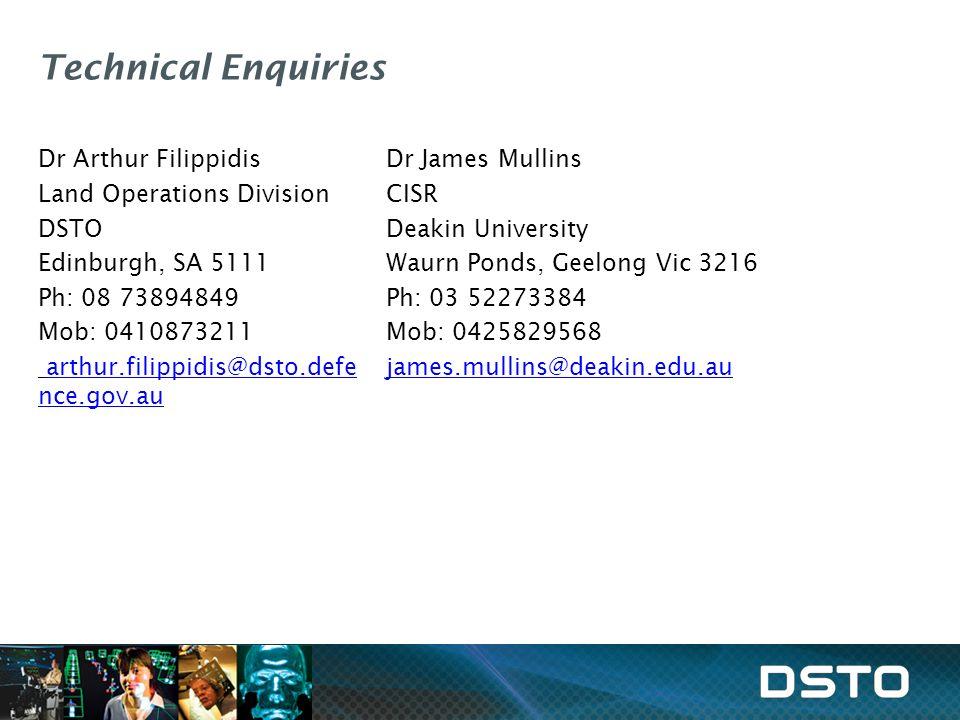 Technical Enquiries Dr Arthur Filippidis Land Operations Division DSTO Edinburgh, SA 5111 Ph: 08 73894849 Mob: 0410873211 arthur.filippidis@dsto.defe nce.gov.au Dr James Mullins CISR Deakin University Waurn Ponds, Geelong Vic 3216 Ph: 03 52273384 Mob: 0425829568 james.mullins@deakin.edu.au