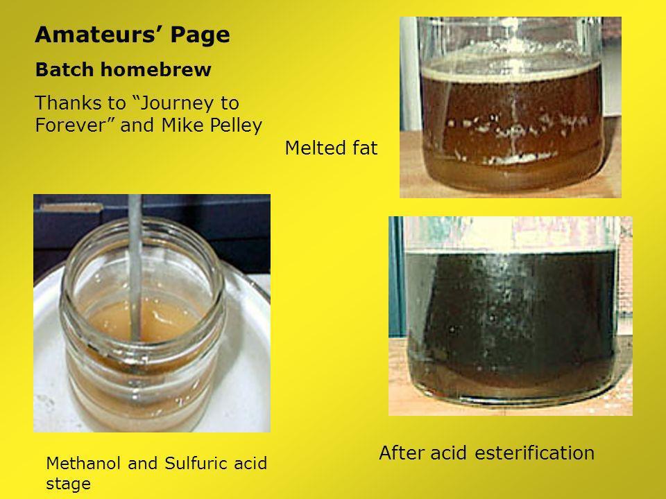 Standard Recipe 100 kg oil + 21.7 kg methanol 1.5 kg NaOH (or KOH) 100 kg biodiesel + 10.4 kg glycerol + 11.3 kg xs methanol