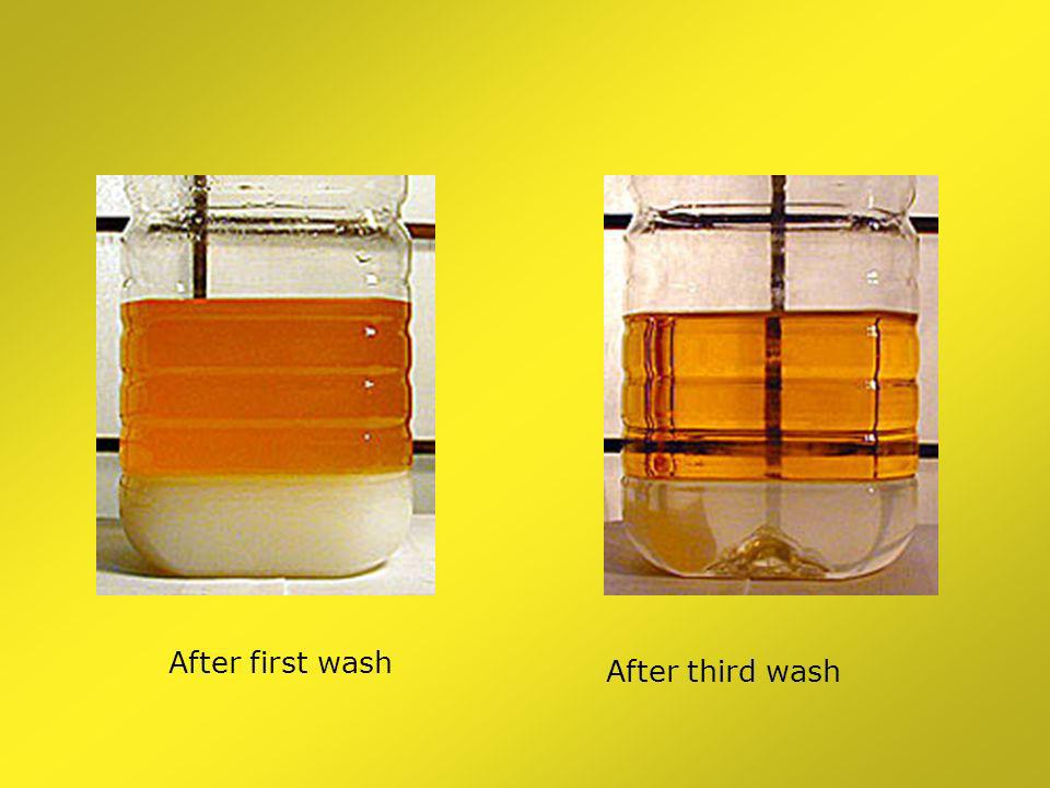 Second stage MeOH and NaOH addition Glycerol layer settles out More glycerol settles out First wash
