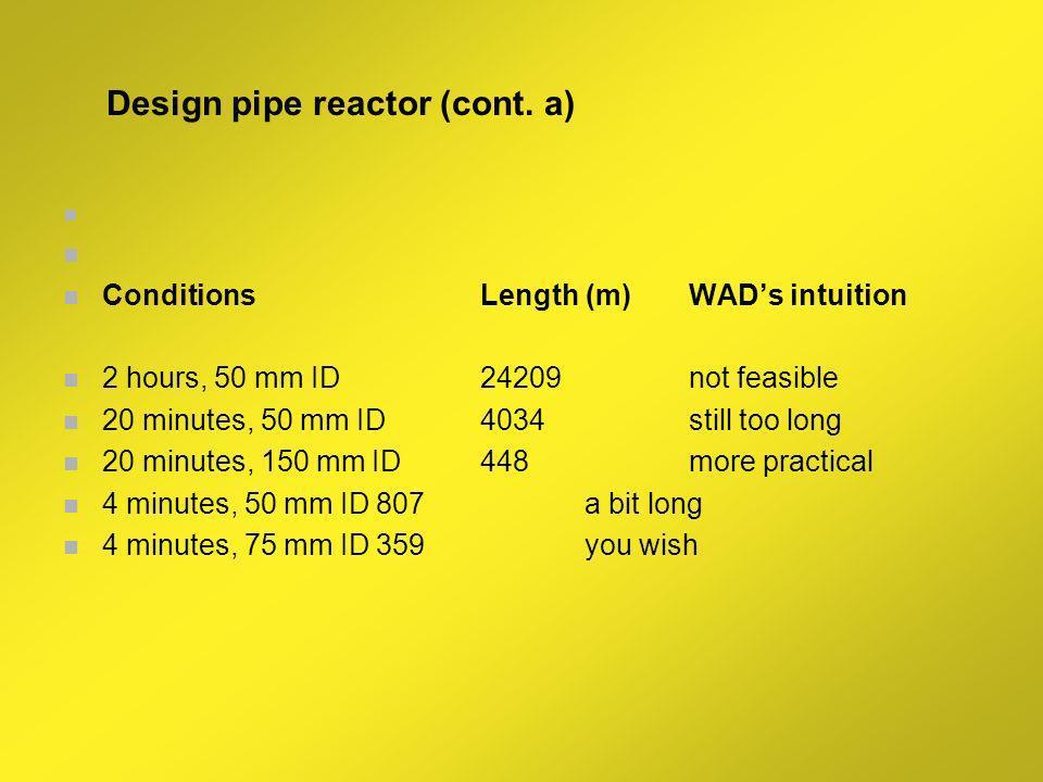 REACTOR DESIGN FOR A CONTINUOUS PLANT Based on Esterfip plant capacity (Sête France) Capacitytonne per year160000 Flowratem3 per year188235 Flowratem3