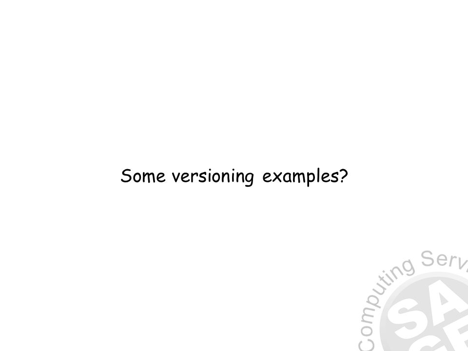 Some versioning examples?