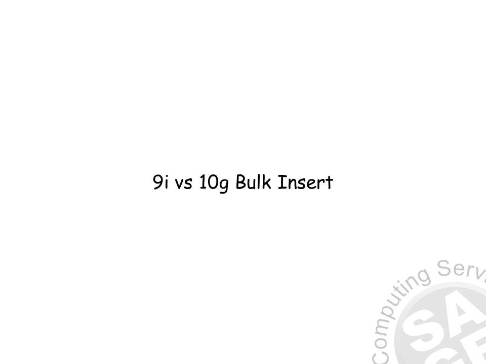 9i vs 10g Bulk Insert