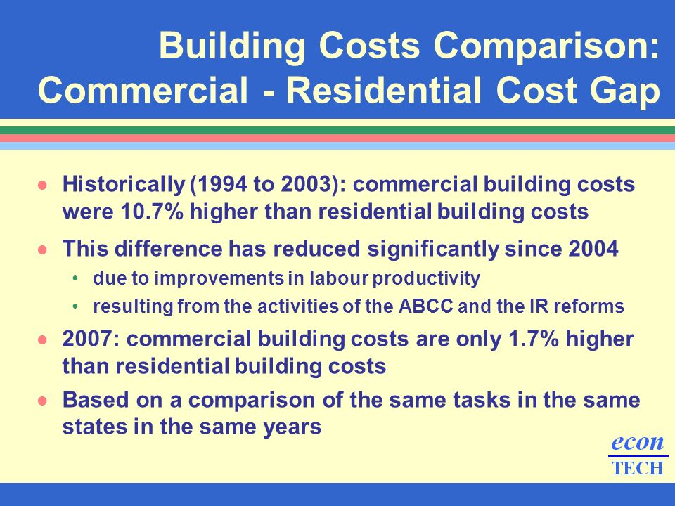 l Historically (1994 to 2003): commercial building costs were 10.7% higher than residential building costs l This difference has reduced significantly since 2004 due to improvements in labour productivity resulting from the activities of the ABCC and the IR reforms l 2007: commercial building costs are only 1.7% higher than residential building costs l Based on a comparison of the same tasks in the same states in the same years Building Costs Comparison: Commercial - Residential Cost Gap
