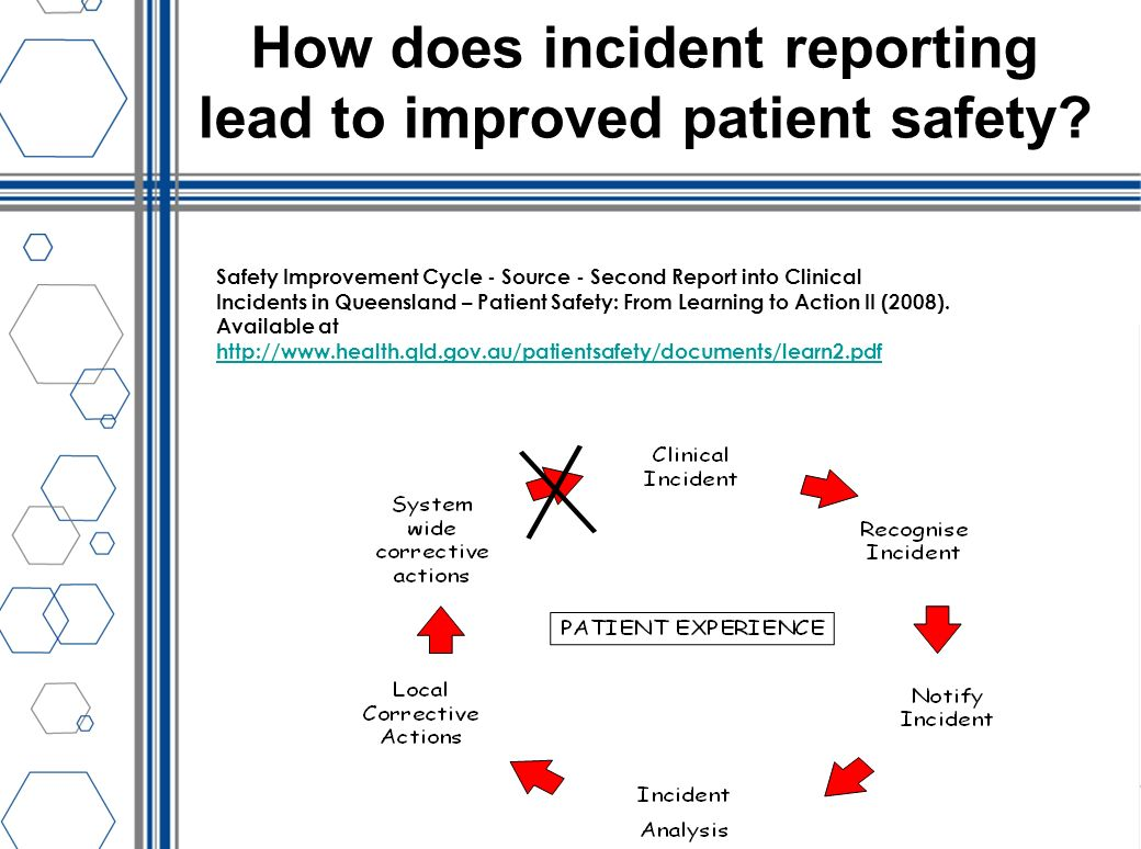 How does incident reporting lead to improved patient safety? Safety Improvement Cycle - Source - Second Report into Clinical Incidents in Queensland –