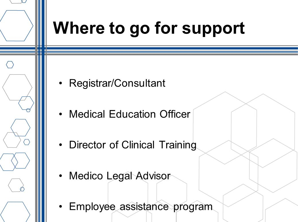 Where to go for support Registrar/Consultant Medical Education Officer Director of Clinical Training Medico Legal Advisor Employee assistance program