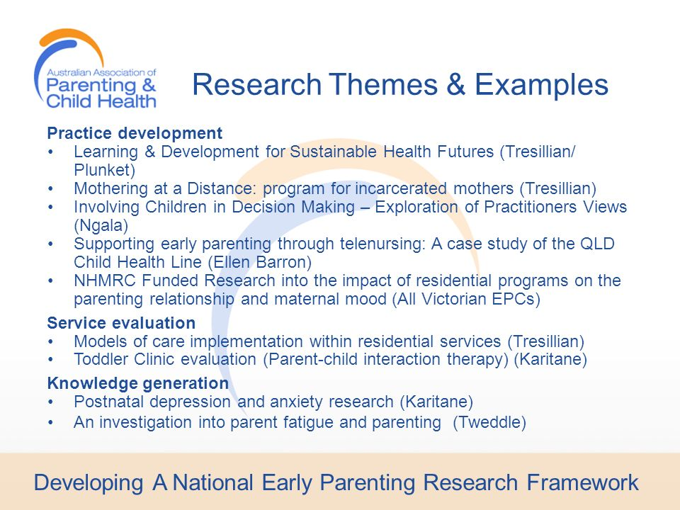 Developing A National Early Parenting Research Framework Practice development Learning & Development for Sustainable Health Futures (Tresillian/ Plunket) Mothering at a Distance: program for incarcerated mothers (Tresillian) Involving Children in Decision Making – Exploration of Practitioners Views (Ngala) Supporting early parenting through telenursing: A case study of the QLD Child Health Line (Ellen Barron) NHMRC Funded Research into the impact of residential programs on the parenting relationship and maternal mood (All Victorian EPCs) Service evaluation Models of care implementation within residential services (Tresillian) Toddler Clinic evaluation (Parent-child interaction therapy) (Karitane) Knowledge generation Postnatal depression and anxiety research (Karitane) An investigation into parent fatigue and parenting (Tweddle) Research Themes & Examples