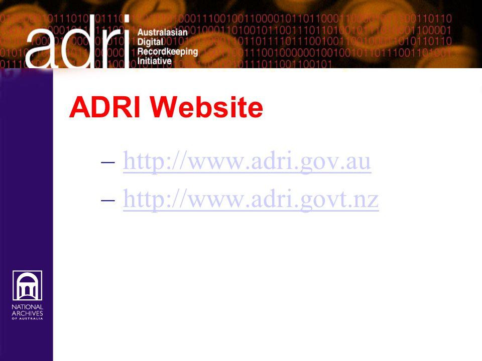 ADRI Website – http://www.adri.gov.auhttp://www.adri.gov.au – http://www.adri.govt.nzhttp://www.adri.govt.nz