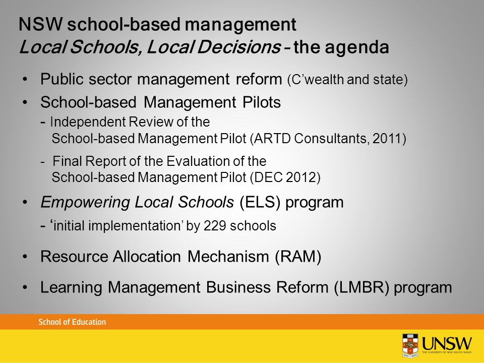 NSW school-based management Local Schools, Local Decisions – the agenda Public sector management reform (Cwealth and state) School-based Management Pi