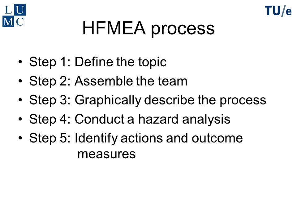 HFMEA process Step 1: Define the topic Step 2: Assemble the team Step 3: Graphically describe the process Step 4: Conduct a hazard analysis Step 5: Id