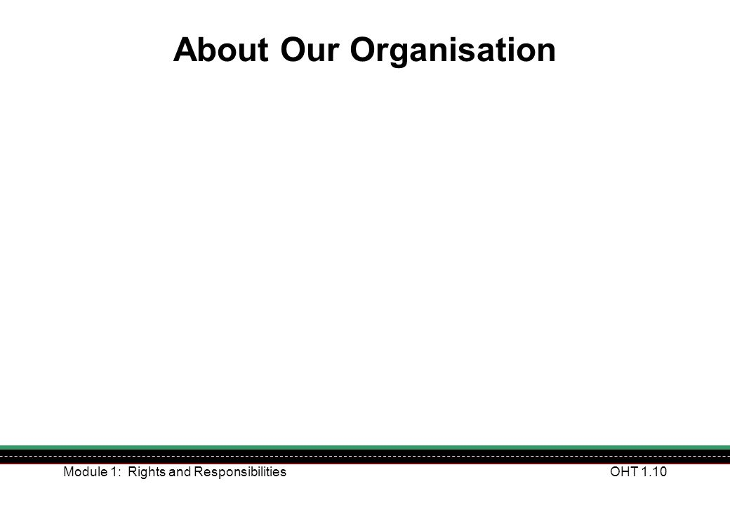 Module 1: Rights and ResponsibilitiesOHT 1.10 About Our Organisation