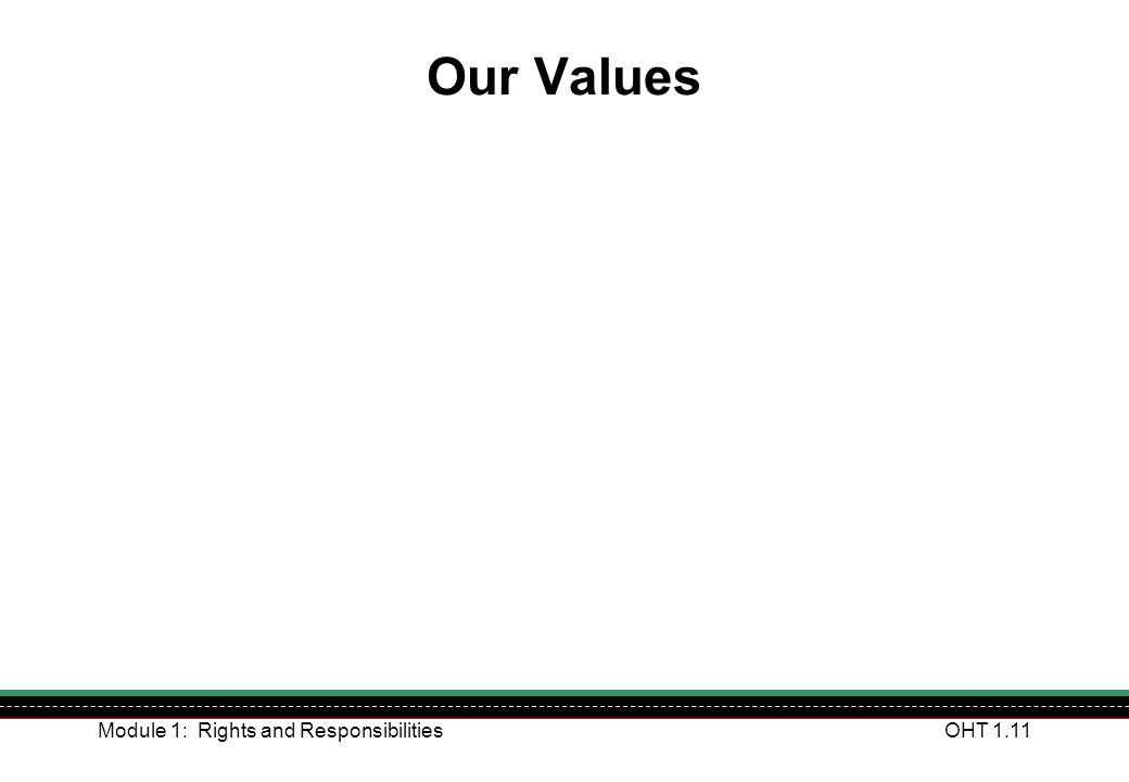 Module 1: Rights and ResponsibilitiesOHT 1.11 Our Values