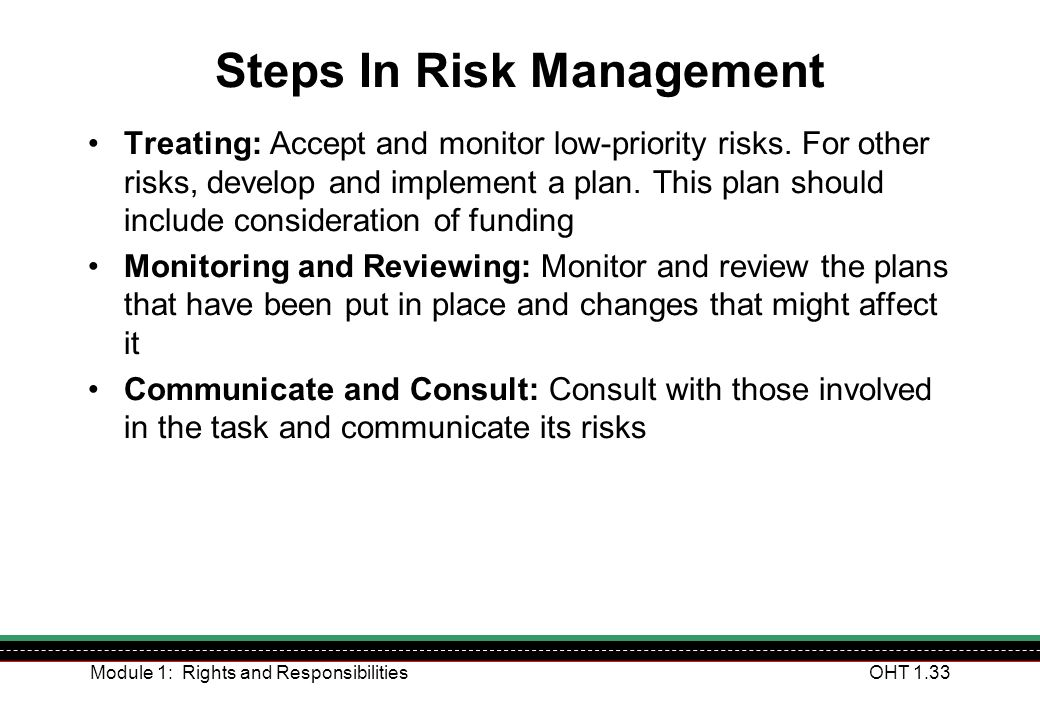 Module 1: Rights and ResponsibilitiesOHT 1.33 Steps In Risk Management Treating: Accept and monitor low-priority risks. For other risks, develop and i