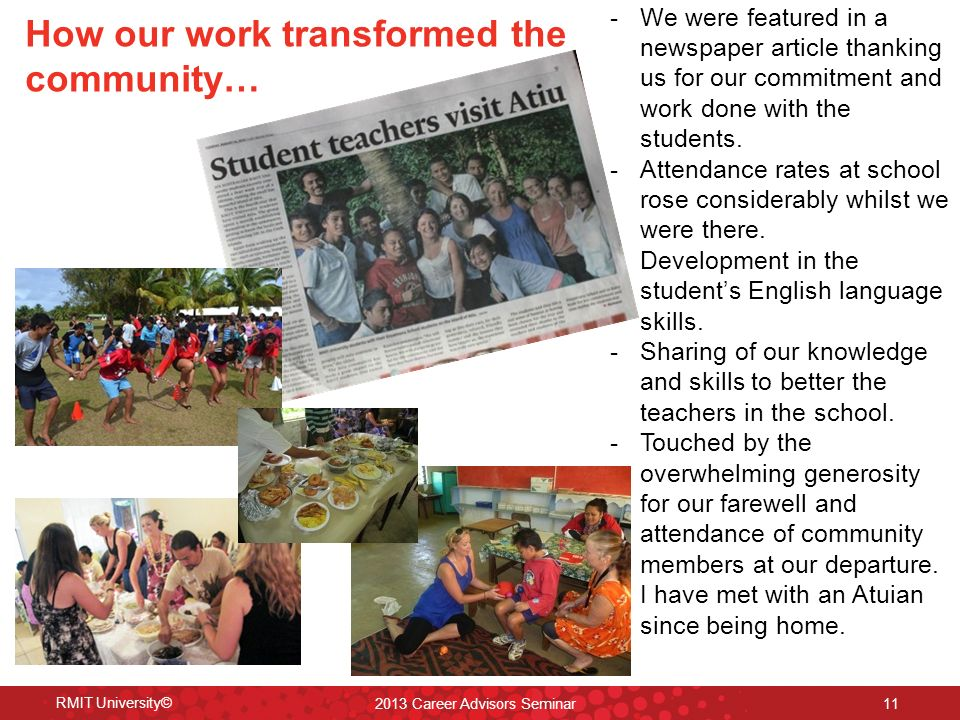 -We were featured in a newspaper article thanking us for our commitment and work done with the students.