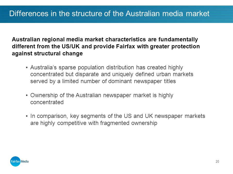20 Differences in the structure of the Australian media market Structural issues and long-term growth outlook … Australian regional media market characteristics are fundamentally different from the US/UK and provide Fairfax with greater protection against structural change Australias sparse population distribution has created highly concentrated but disparate and uniquely defined urban markets served by a limited number of dominant newspaper titles Ownership of the Australian newspaper market is highly concentrated In comparison, key segments of the US and UK newspaper markets are highly competitive with fragmented ownership