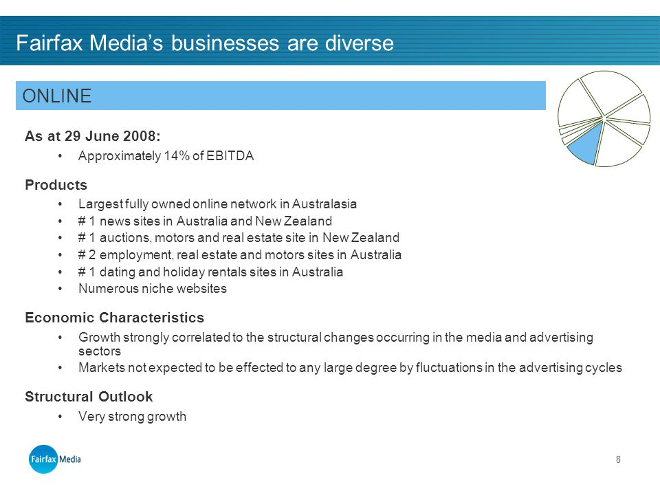 8 Fairfax Medias businesses are diverse As at 29 June 2008: Approximately 14% of EBITDA Products Largest fully owned online network in Australasia # 1 news sites in Australia and New Zealand # 1 auctions, motors and real estate site in New Zealand # 2 employment, real estate and motors sites in Australia # 1 dating and holiday rentals sites in Australia Numerous niche websites Economic Characteristics Growth strongly correlated to the structural changes occurring in the media and advertising sectors Markets not expected to be effected to any large degree by fluctuations in the advertising cycles Structural Outlook Very strong growth ONLINE