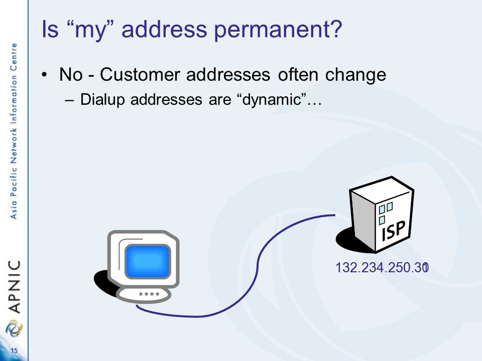 15 Is my address permanent? No - Customer addresses often change –Dialup addresses are dynamic… 132.234.250.31132.234.250.30