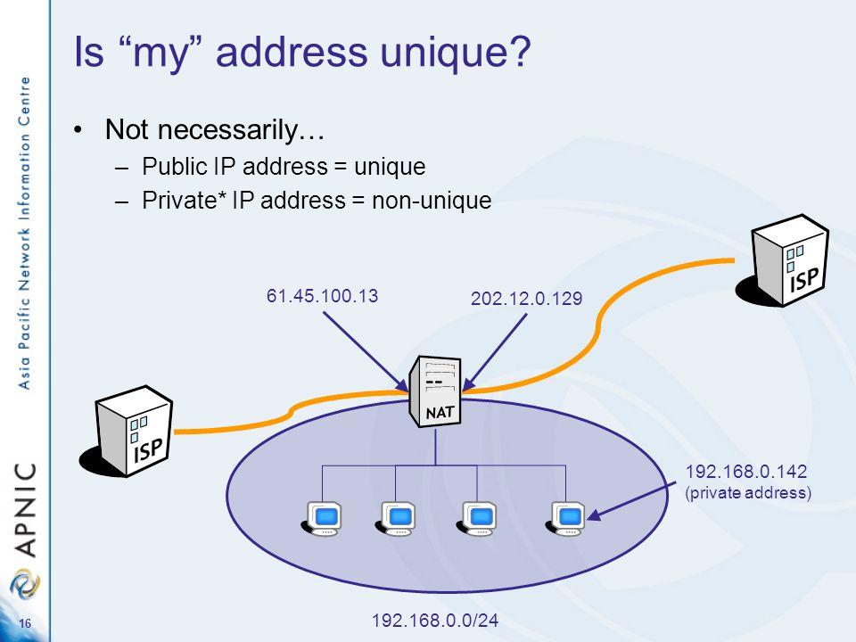 16 Not necessarily… –Public IP address = unique –Private* IP address = non-unique Is my address unique? 192.168.0.0/24 192.168.0.142 (private address)
