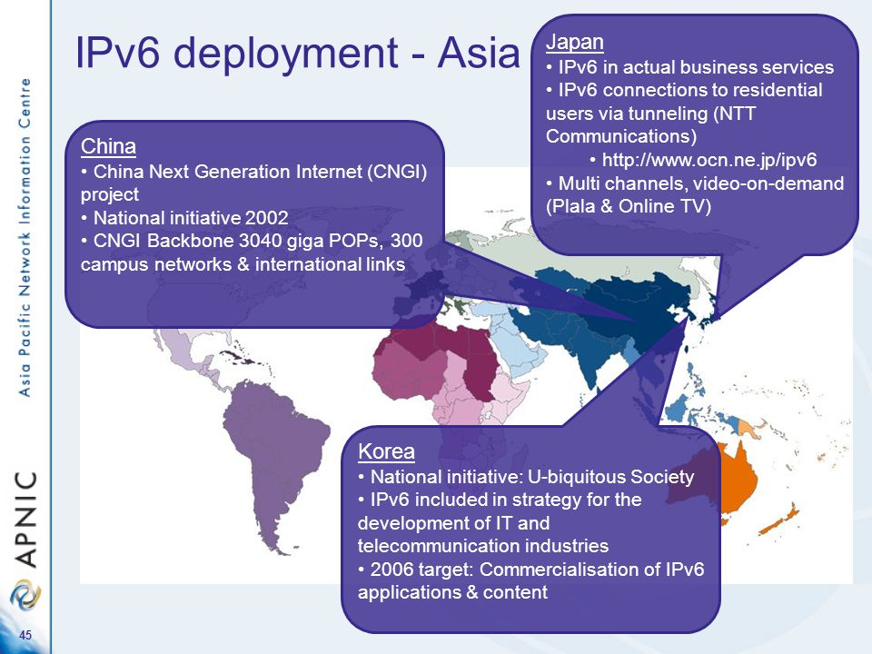 45 IPv6 deployment - Asia Japan IPv6 in actual business services IPv6 connections to residential users via tunneling (NTT Communications) http://www.o