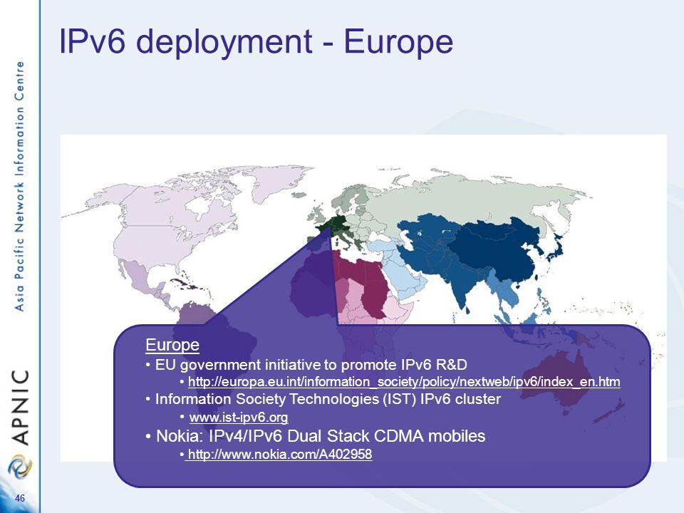 46 IPv6 deployment - Europe Europe EU government initiative to promote IPv6 R&D http://europa.eu.int/information_society/policy/nextweb/ipv6/index_en.