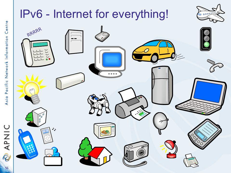 56 IPv6 - Internet for everything! R R R R R