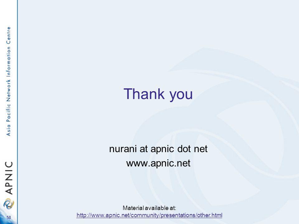 58 Thank you nurani at apnic dot net www.apnic.net Material available at: http://www.apnic.net/community/presentations/other.html http://www.apnic.net