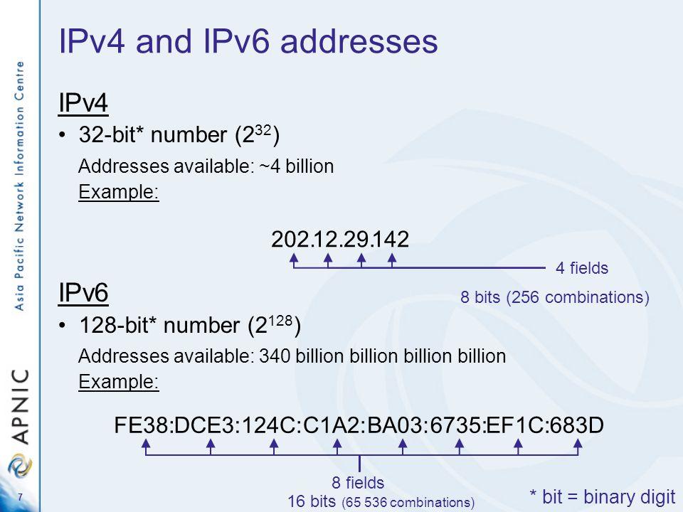 7 IPv4 32-bit* number (2 32 ) Addresses available: ~4 billion Example: IPv6 128-bit* number (2 128 ) Addresses available: 340 billion billion billion