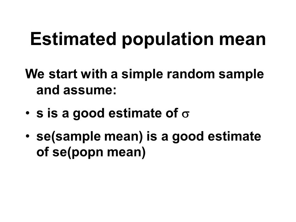 Estimated population mean We start with a simple random sample and assume: s is a good estimate of se(sample mean) is a good estimate of se(popn mean)