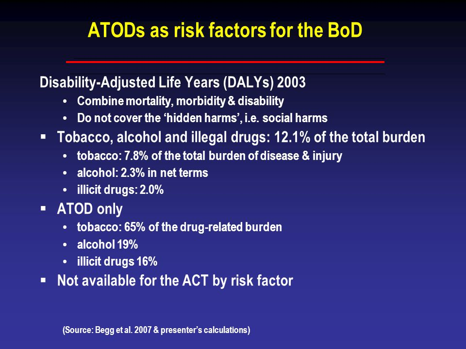 ATODs as risk factors for the BoD Disability-Adjusted Life Years (DALYs) 2003 Combine mortality, morbidity & disability Do not cover the hidden harms,