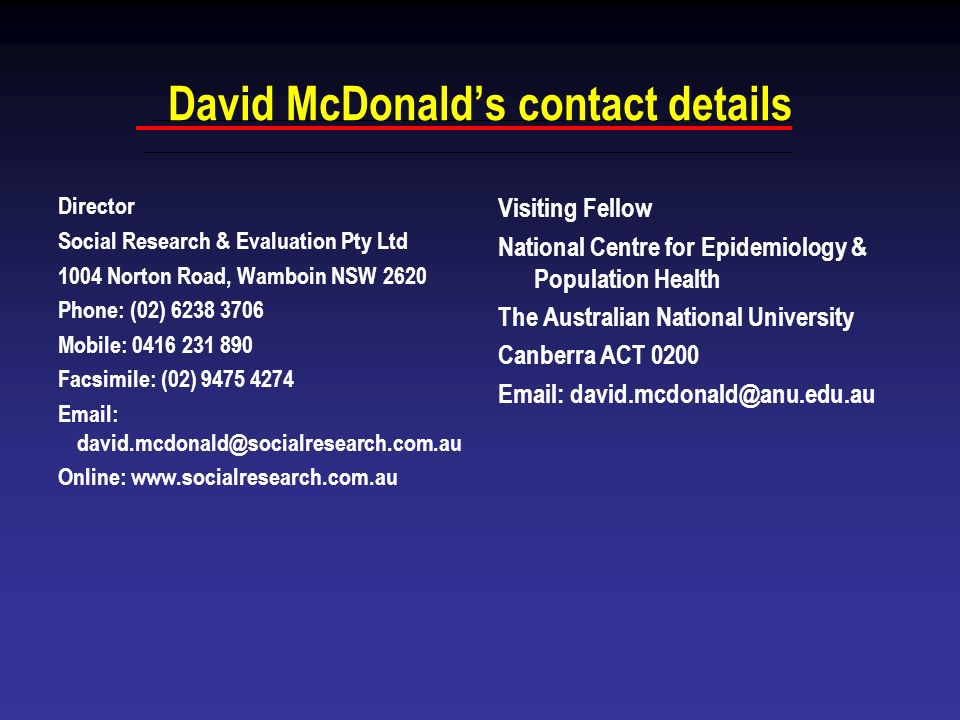 David McDonalds contact details Director Social Research & Evaluation Pty Ltd 1004 Norton Road, Wamboin NSW 2620 Phone: (02) 6238 3706 Mobile: 0416 23