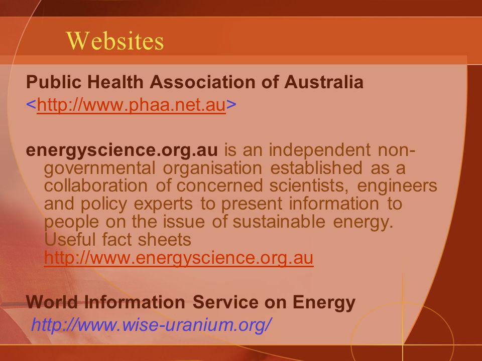 Websites Public Health Association of Australia http://www.phaa.net.au energyscience.org.au is an independent non- governmental organisation establish