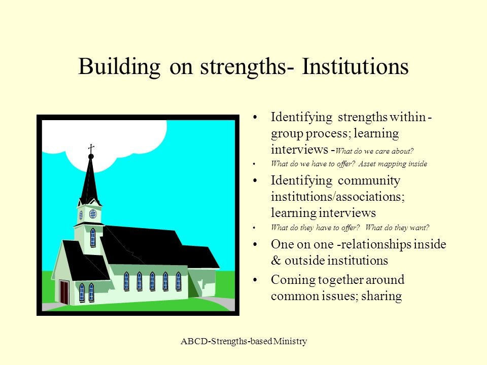 ABCD-Strengths-based Ministry Building on strengths- Institutions Identifying strengths within - group process; learning interviews - What do we care