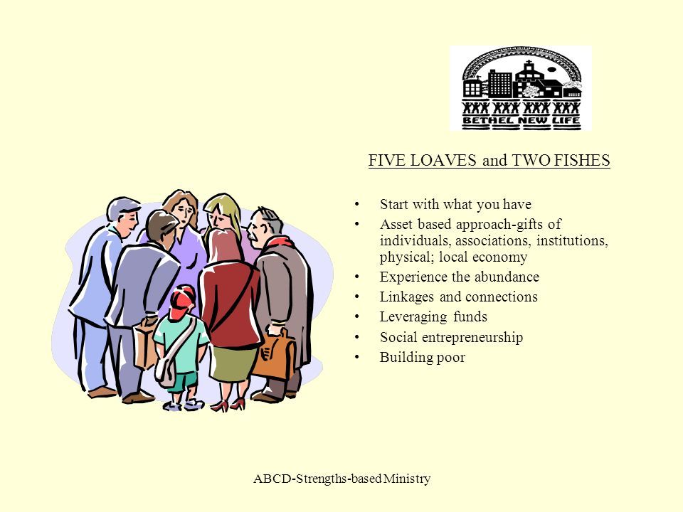 ABCD-Strengths-based Ministry FIVE LOAVES and TWO FISHES Start with what you have Asset based approach-gifts of individuals, associations, institution
