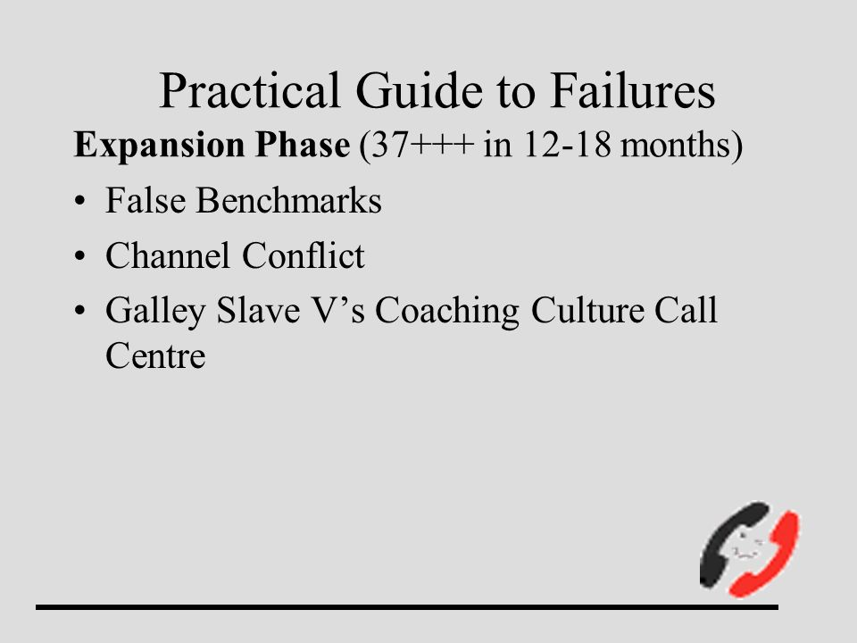 Practical Guide to Failures Expansion Phase (37+++ in 12-18 months) False Benchmarks Channel Conflict Galley Slave Vs Coaching Culture Call Centre