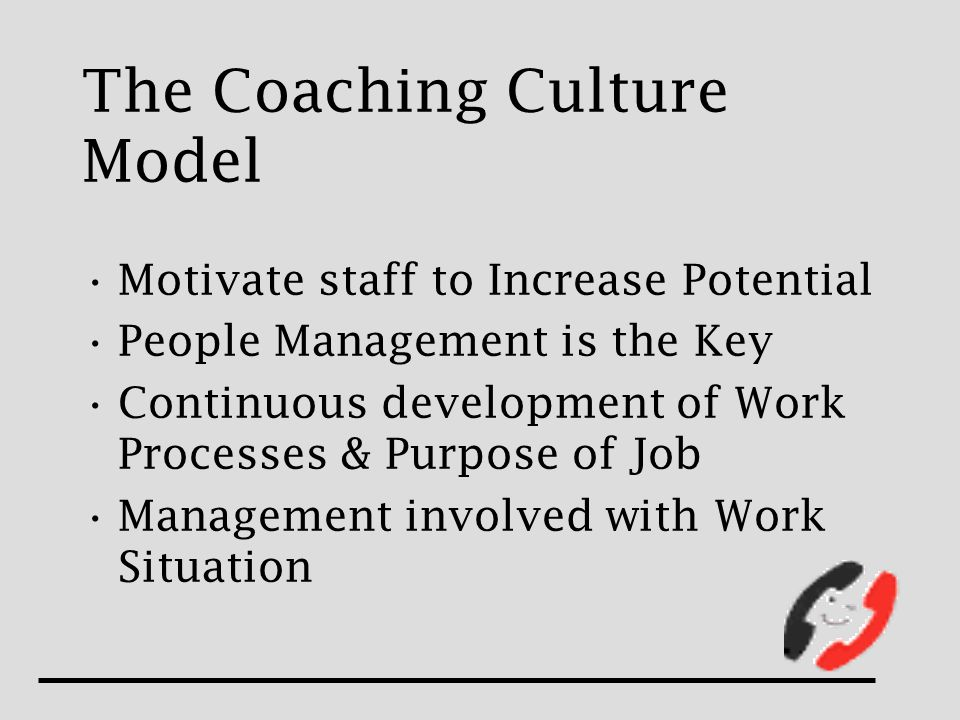 The Coaching Culture Model Motivate staff to Increase Potential People Management is the Key Continuous development of Work Processes & Purpose of Job