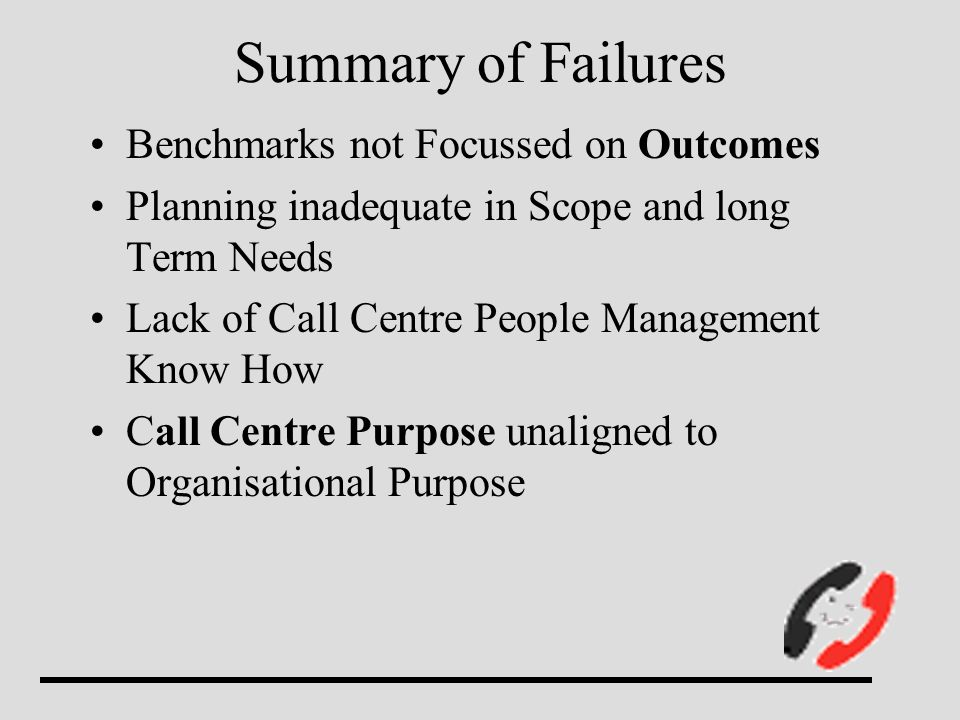 Summary of Failures Benchmarks not Focussed on Outcomes Planning inadequate in Scope and long Term Needs Lack of Call Centre People Management Know Ho