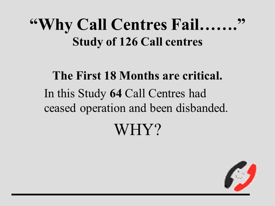Why Call Centres Fail……. Study of 126 Call centres The First 18 Months are critical.
