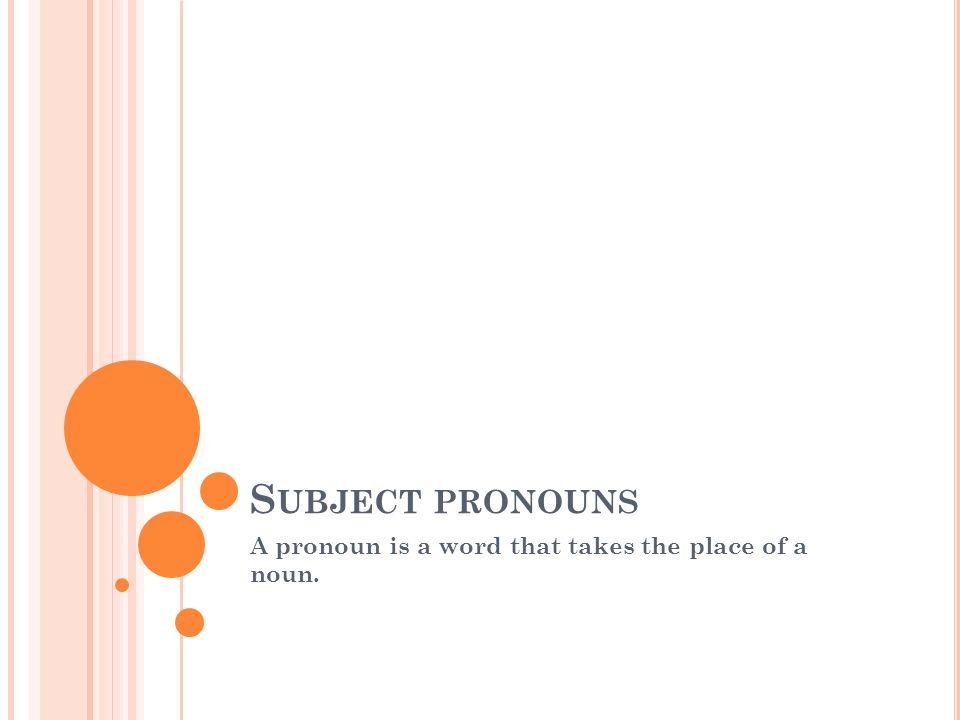 S UBJECT PRONOUNS A pronoun is a word that takes the place of a noun.