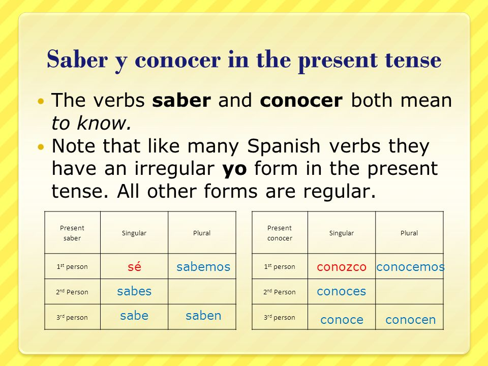 Saber y conocer in the present tense The verbs saber and conocer both mean to know. Note that like many Spanish verbs they have an irregular yo form i