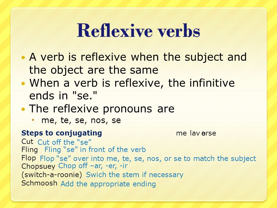 Reflexive verbs A verb is reflexive when the subject and the object are the same When a verb is reflexive, the infinitive ends in