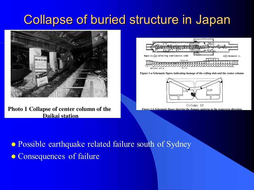 Collapse of buried structure in Japan Spec l Possible earthquake related failure south of Sydney l Consequences of failure